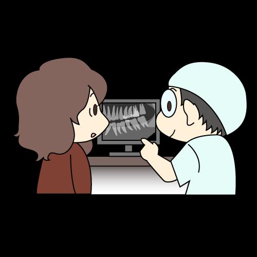 歯科医よる患者への説明イラスト