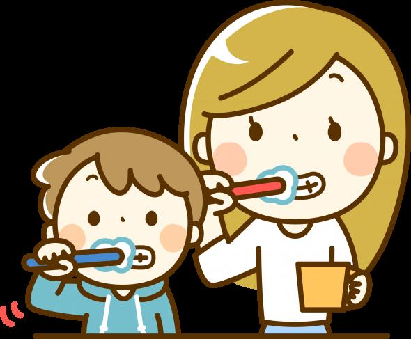 親子で歯磨きをするイラスト